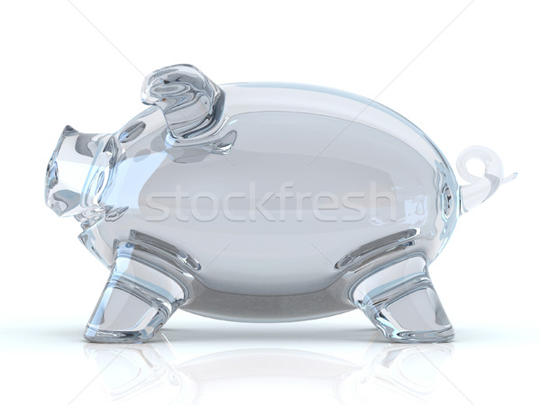 Empty glass piggy bank. 3D Stock photo © djmilic