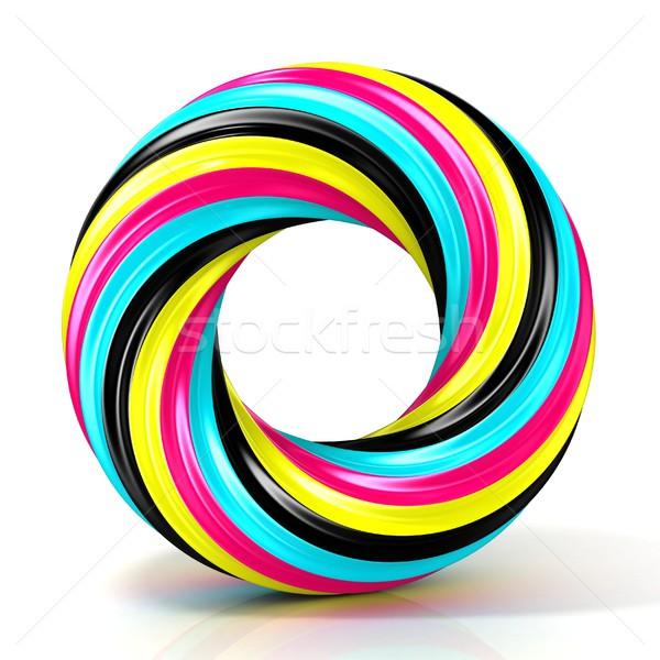 CMYK abstract circular sign, with narrow stripes 3D Stock photo © djmilic