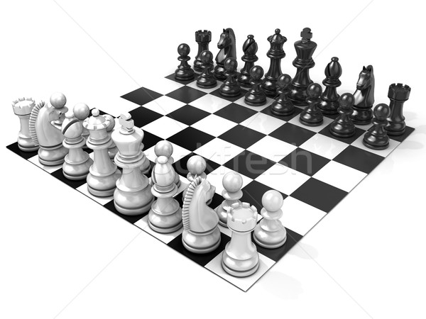 Chess Board with all chess pieces Stock photo © djmilic