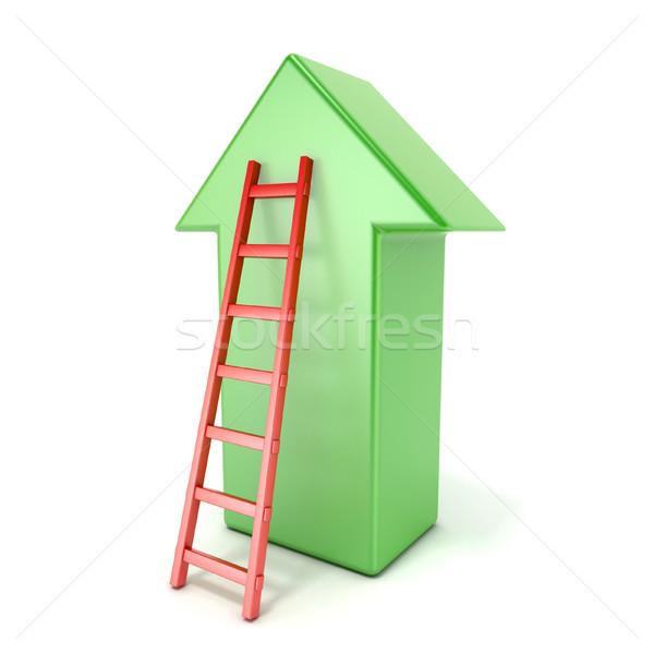 лестнице ведущий зеленый стрелка успех 3D Сток-фото © djmilic