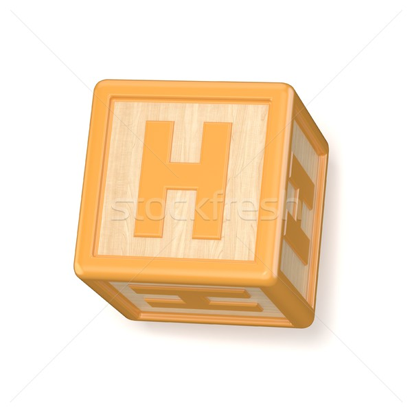 Letter H wooden alphabet blocks font rotated. 3D Stock photo © djmilic