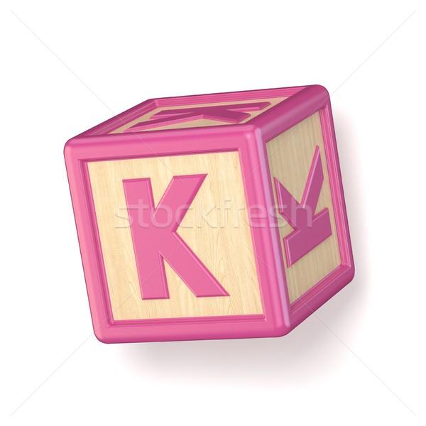 Letter K wooden alphabet blocks font rotated. 3D Stock photo © djmilic