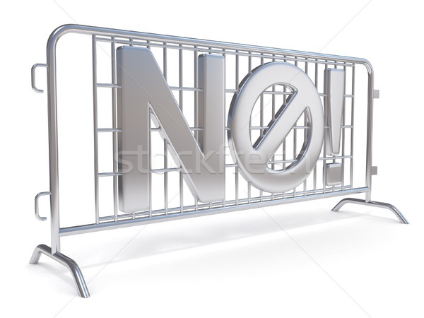 Steel barricades with word NO. Side view. 3D Stock photo © djmilic