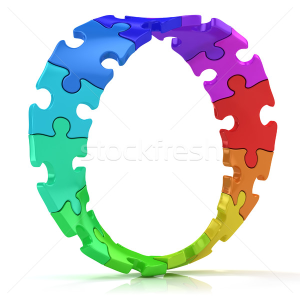 Twisted circle of colorful jigsaw puzzles Stock photo © djmilic