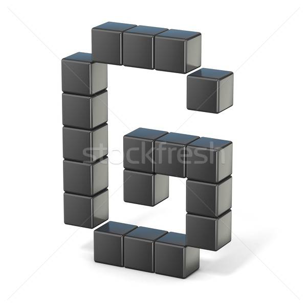 8 bit font. Capital letter G. 3D Stock photo © djmilic