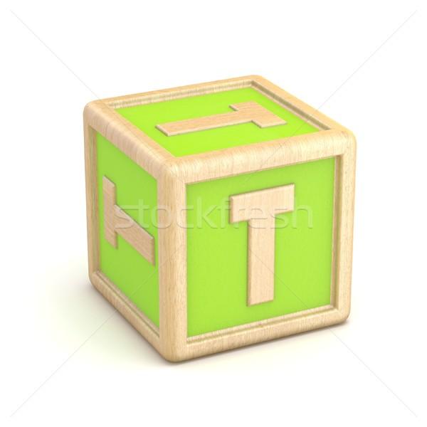 Letter T wooden alphabet blocks font rotated. 3D Stock photo © djmilic