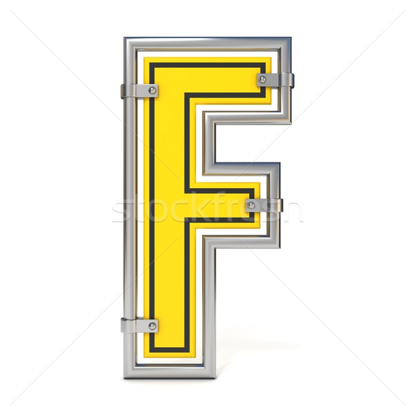 Framed traffic road sign FONT letter F 3D Stock photo © djmilic