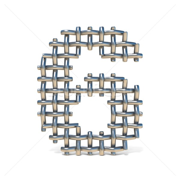 Metal wire mesh font Number 6 SIX 3D Stock photo © djmilic