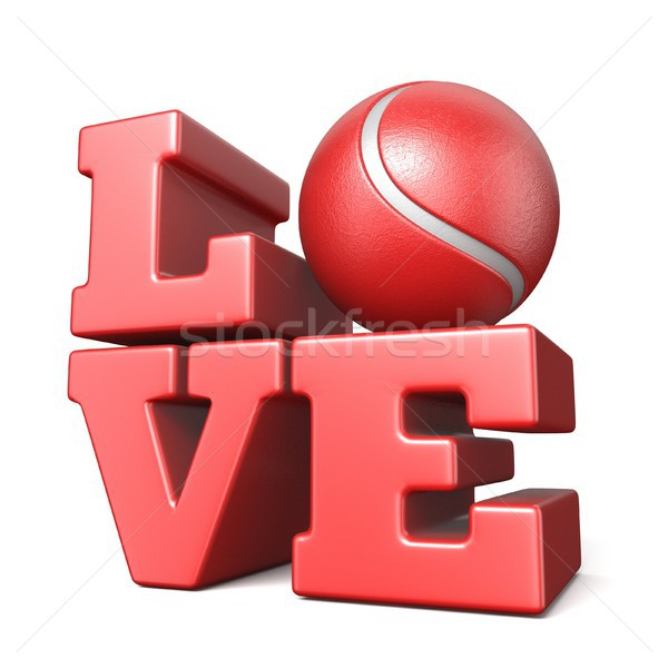 Word LOVE with tennis ball 3D Stock photo © djmilic