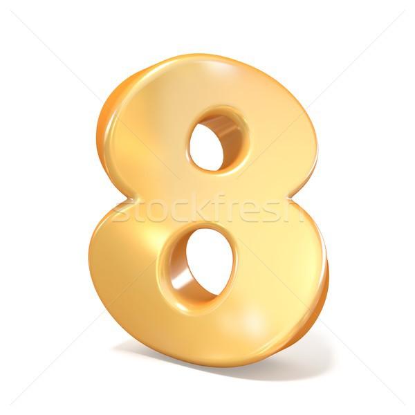 оранжевый шрифт числа восемь 3D 3d визуализации Сток-фото © djmilic