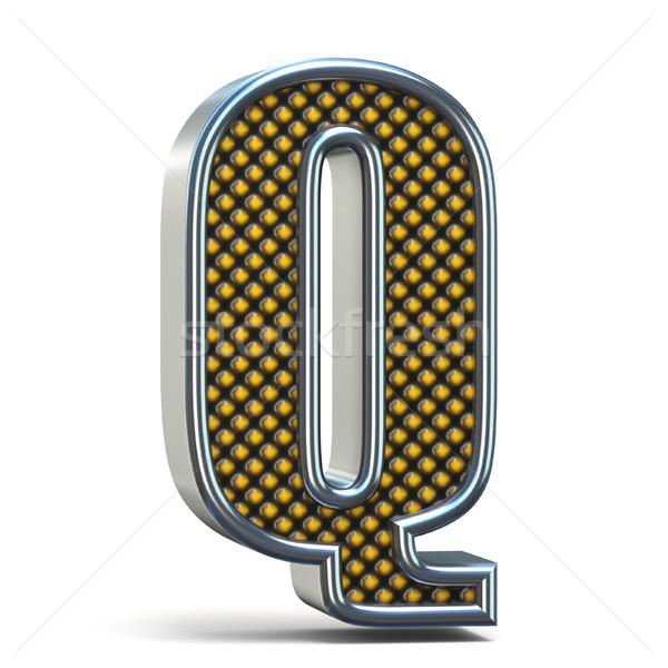 Chrome metal orange dotted font Letter Q 3D Stock photo © djmilic