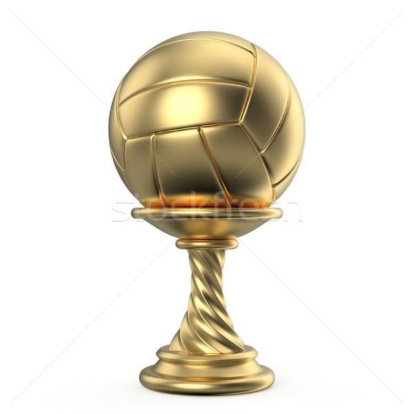 золото трофей Кубок волейбол 3D 3d визуализации Сток-фото © djmilic