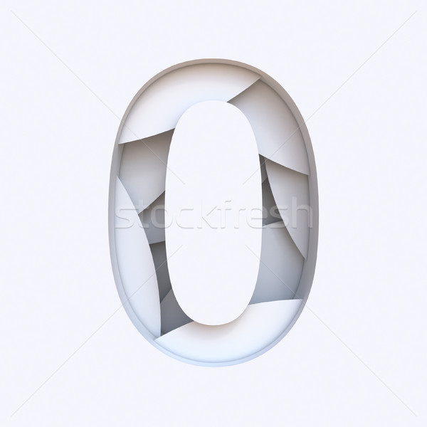 White abstract layers font Number 0 ZERO 3D Stock photo © djmilic