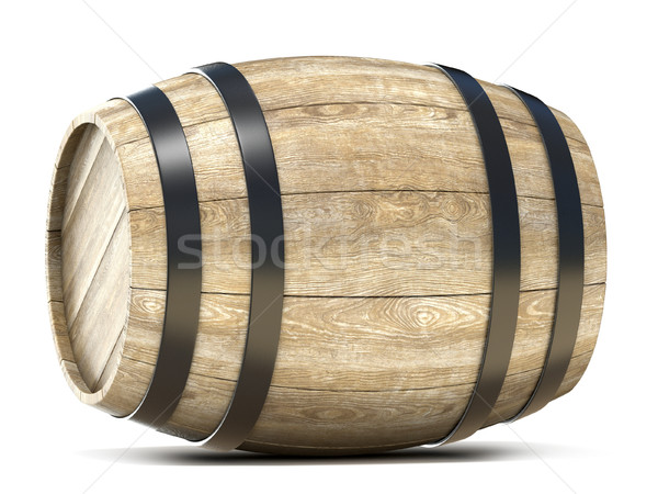 Holz Barrel 3D 3d render Illustration isoliert Stock foto © djmilic