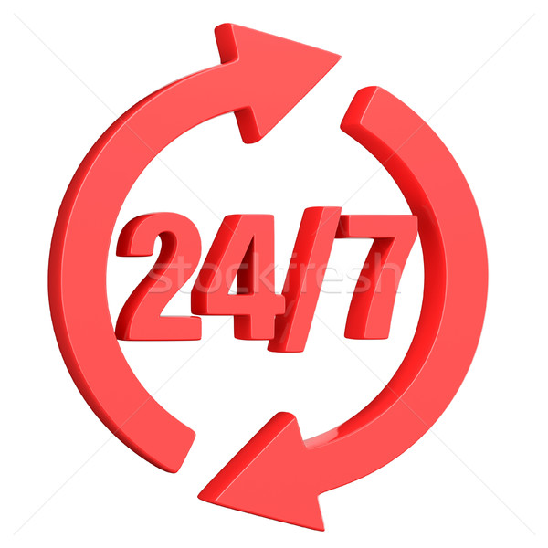Stock photo: Red 24 hours 7 days a week sign. 3D