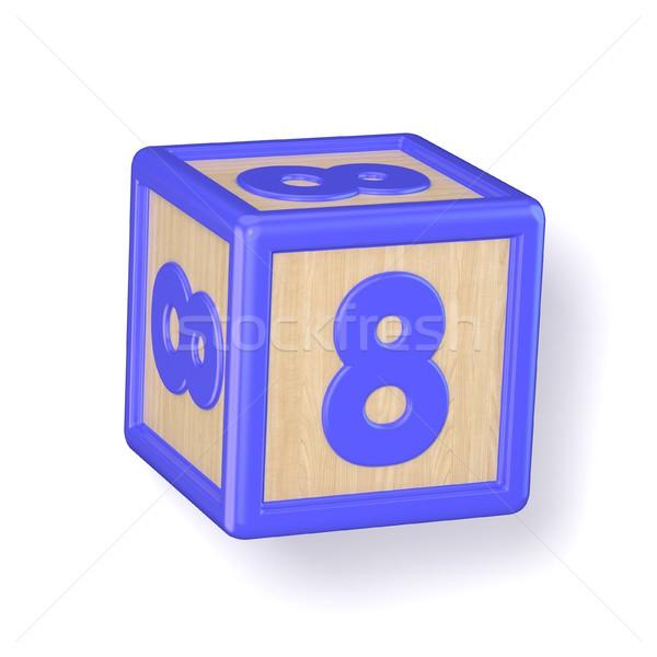 Aantal acht houten alfabet blokken doopvont Stockfoto © djmilic