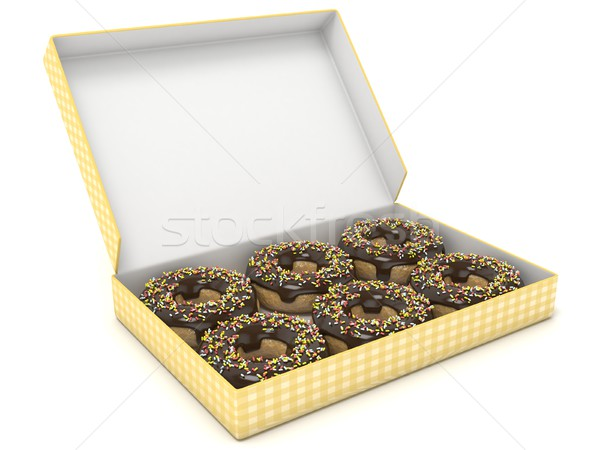 Box of chocolate donuts. Side view. 3D Stock photo © djmilic