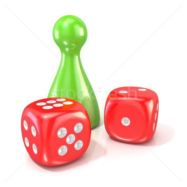 Társasjáték alkat kettő piros kocka 3D Stock fotó © djmilic