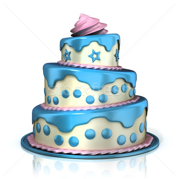 Stockfoto: Drie · vloer · cake · 3D · geïsoleerd