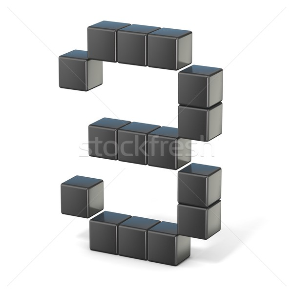 8 bit font. Number 3. 3D Stock photo © djmilic