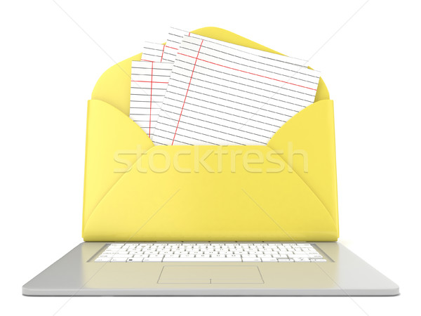 Open envelope and blank lined paper on laptop. Front view. 3D Stock photo © djmilic