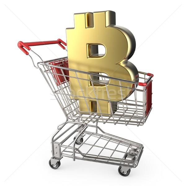 Kırmızı alışveriş sepeti altın bitcoin para imzalamak Stok fotoğraf © djmilic