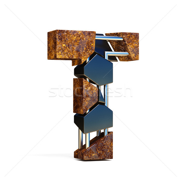 Black brown fracture font LETTER T 3D Stock photo © djmilic