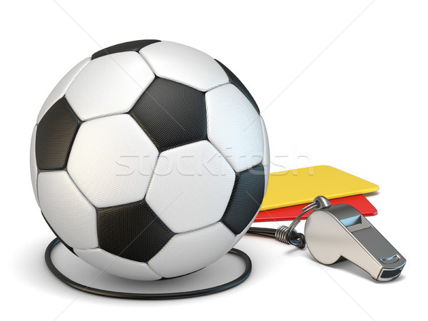 Football concept red and yellow cards, whistle and soccer ball 3 Stock photo © djmilic