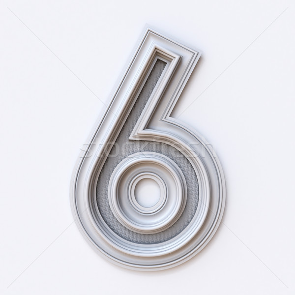 White picture frame font Number 6 SIX 3D Stock photo © djmilic