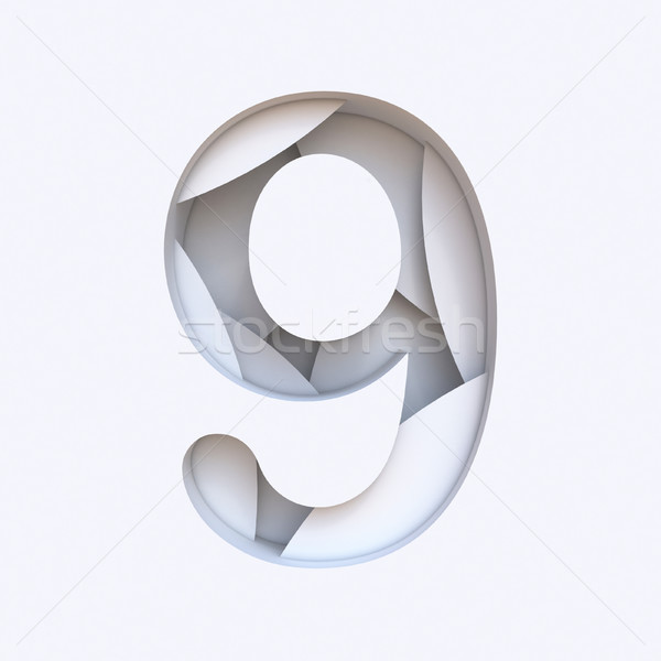 White abstract layers font Number 9 NINE 3D Stock photo © djmilic
