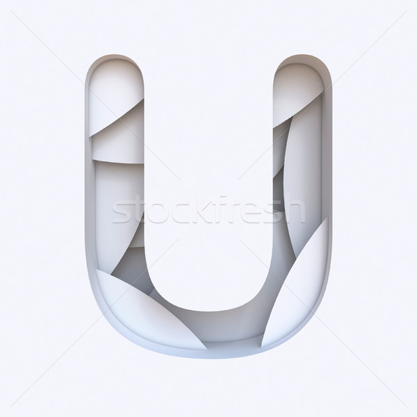 White abstract layers font Letter U 3D Stock photo © djmilic