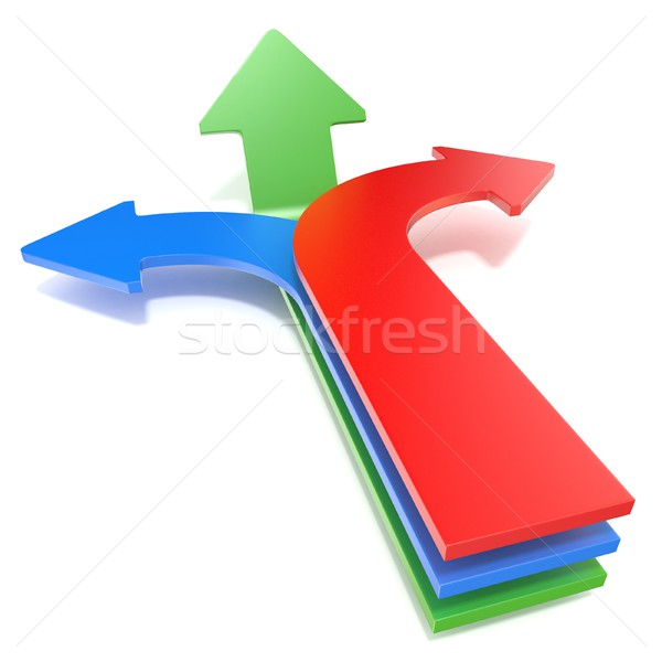Three way arrows, showing three different directions. Blue left, Stock photo © djmilic