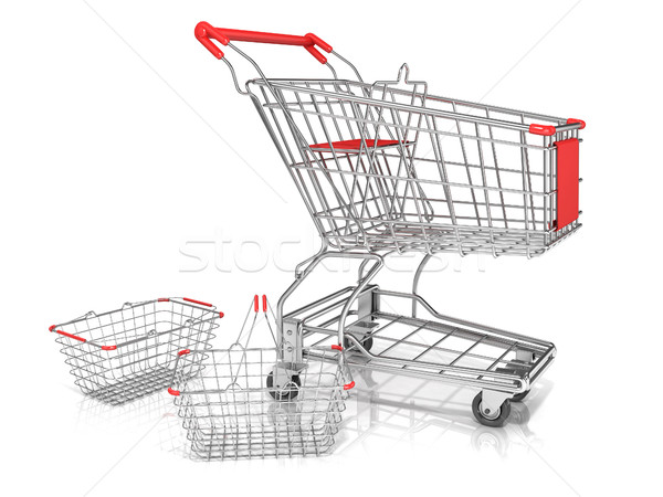 Steel wire shopping baskets and shopping cart Stock photo © djmilic