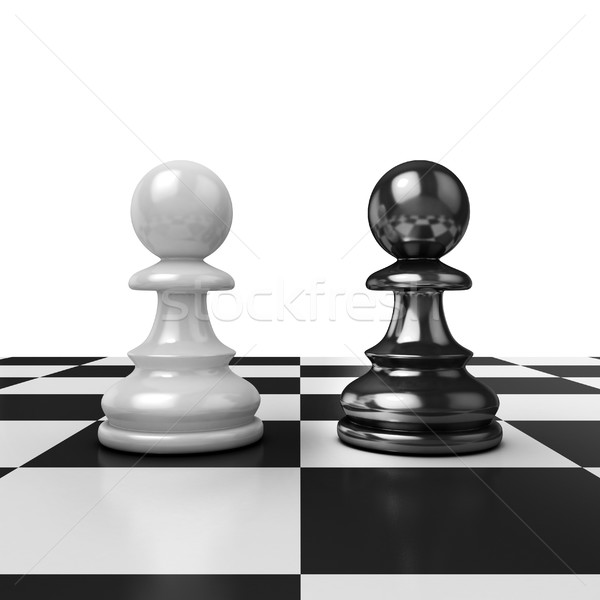 Two chess pawns, black and white Stock photo © djmilic