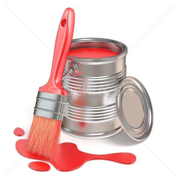 Paint bucket, paintbrush and red stain. 3D Stock photo © djmilic
