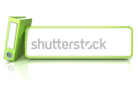 Green office binder folder, with white copy space table. 3D Stock photo © djmilic