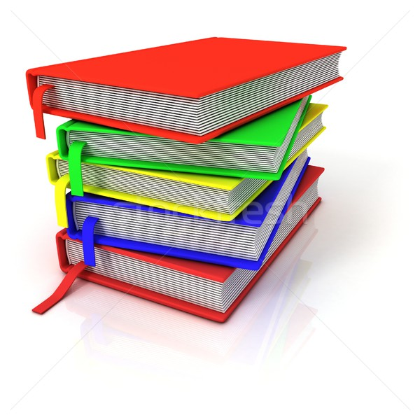 Colorful stack of books, with bookmarks Stock photo © djmilic