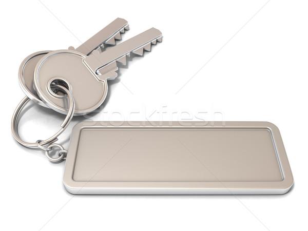 Kettő ajtó kulcsok négyszögletes címke gyűrű Stock fotó © djmilic