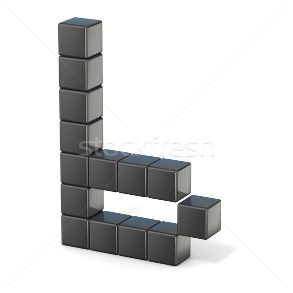 8 bit font. Lowercase letter B. 3D Stock photo © djmilic
