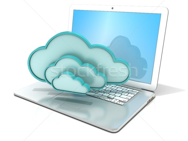 Laptop wolken 3D computer icoon Stockfoto © djmilic