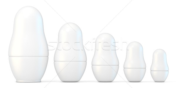 Set of white unpainted matryoshka dolls. 3D Stock photo © djmilic