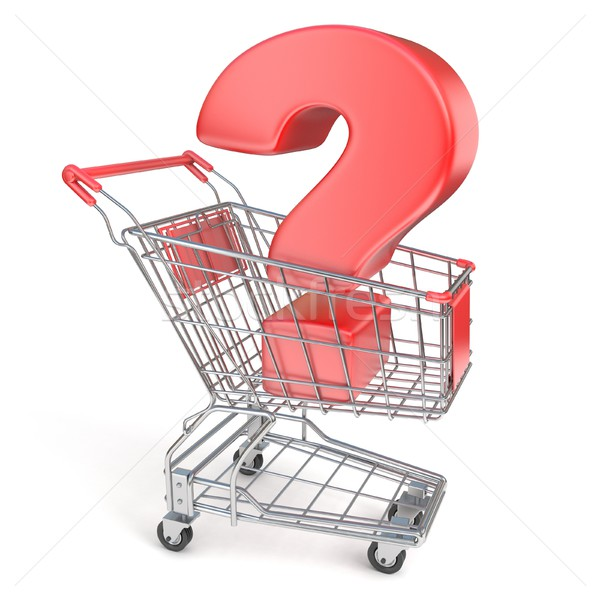 Red question mark inside shopping cart 3D Stock photo © djmilic