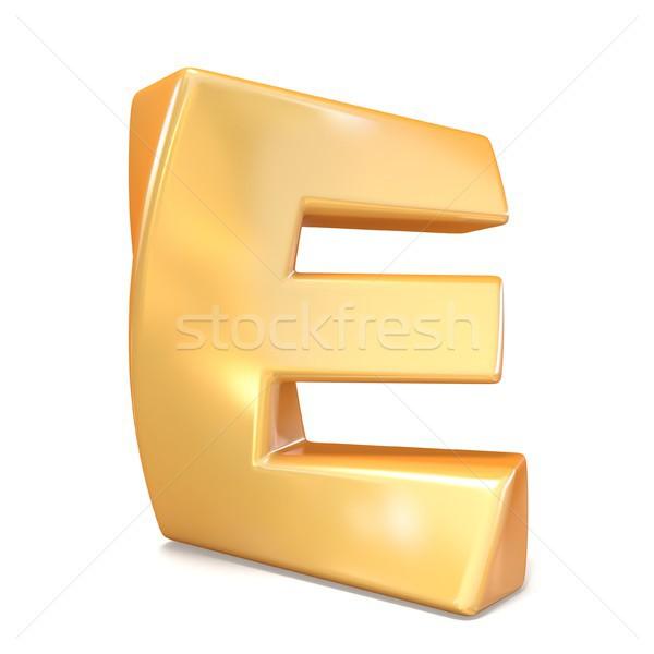 Orange twisted font uppercase letter E 3D Stock photo © djmilic