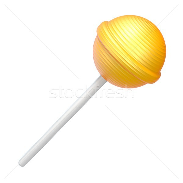 Yellow lollipop 3D rendering illustration on white background Stock photo © djmilic