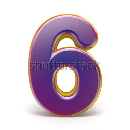 Number SIX 6 purple font yellow outlined 3D Stock photo © djmilic