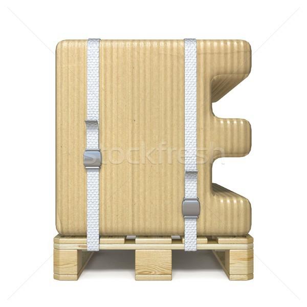 Cardboard box font Letter E on wooden pallet 3D Stock photo © djmilic