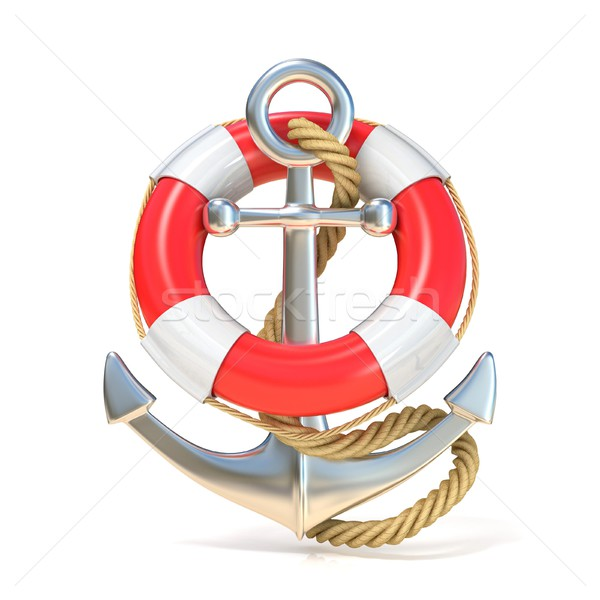 Anchor, lifebuoy and rope. 3D Stock photo © djmilic