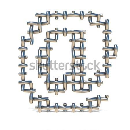 Metal lattice font letter X 3D Stock photo © djmilic