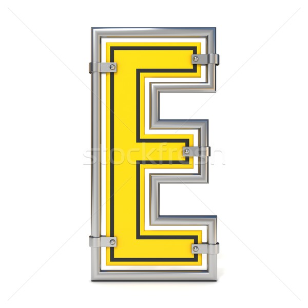 Framed traffic road sign FONT letter E 3D Stock photo © djmilic