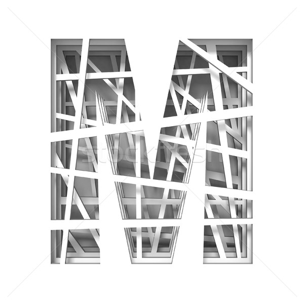 Paper cut out font letter M 3D Stock photo © djmilic